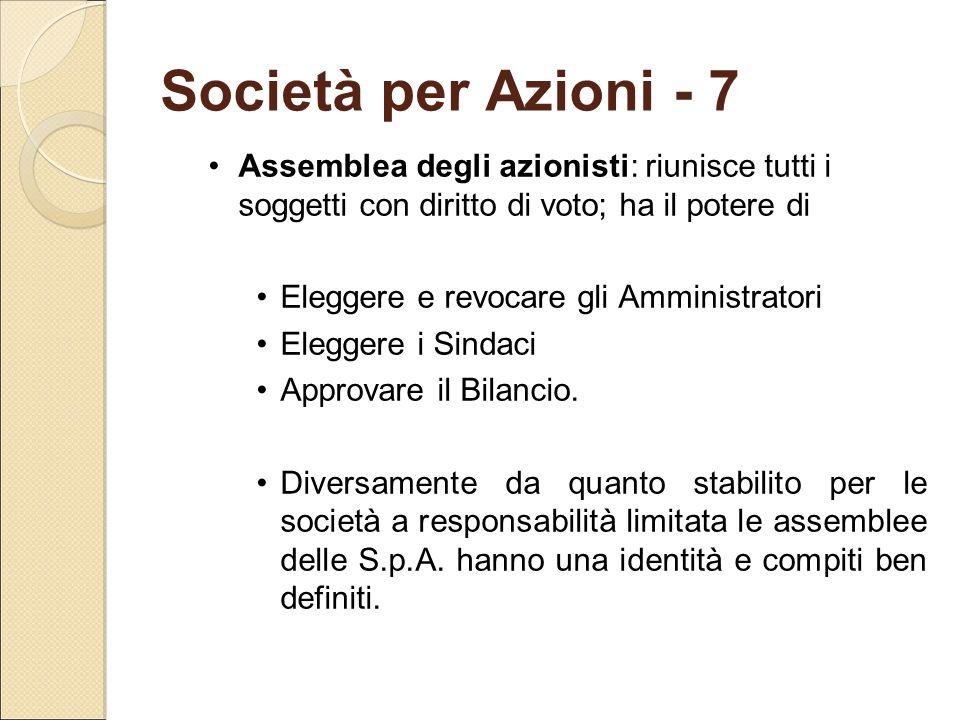 Società per Azioni - 7 Assemblea degli azionisti: riunisce tutti i soggetti con diritto di voto; ha il potere di Eleggere e revocare gli Amministrator