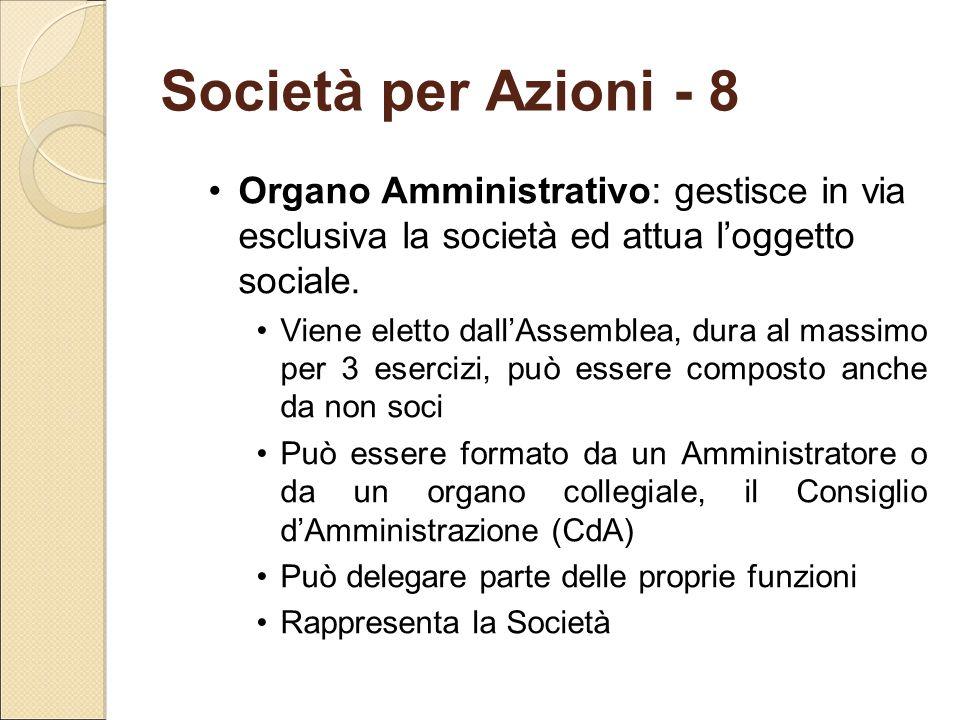 Società per Azioni - 8 Organo Amministrativo: gestisce in via esclusiva la società ed attua l'oggetto sociale. Viene eletto dall'Assemblea, dura al ma