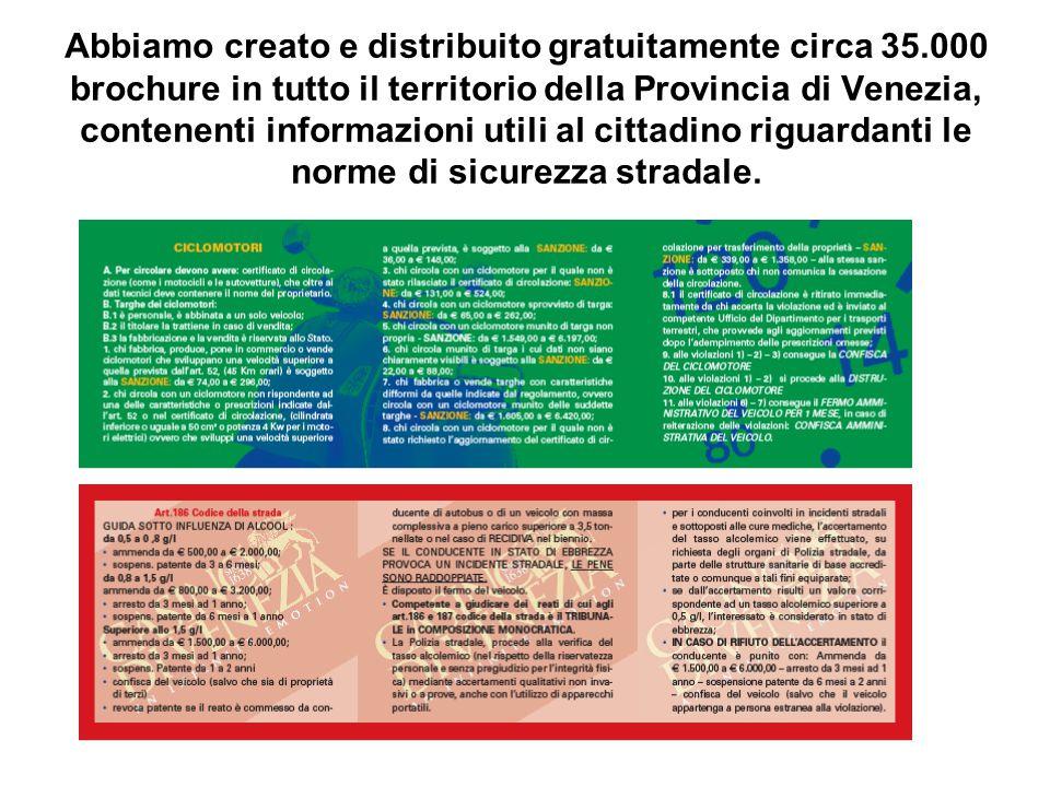 Abbiamo creato e distribuito gratuitamente circa 35.000 brochure in tutto il territorio della Provincia di Venezia, contenenti informazioni utili al cittadino riguardanti le norme di sicurezza stradale.