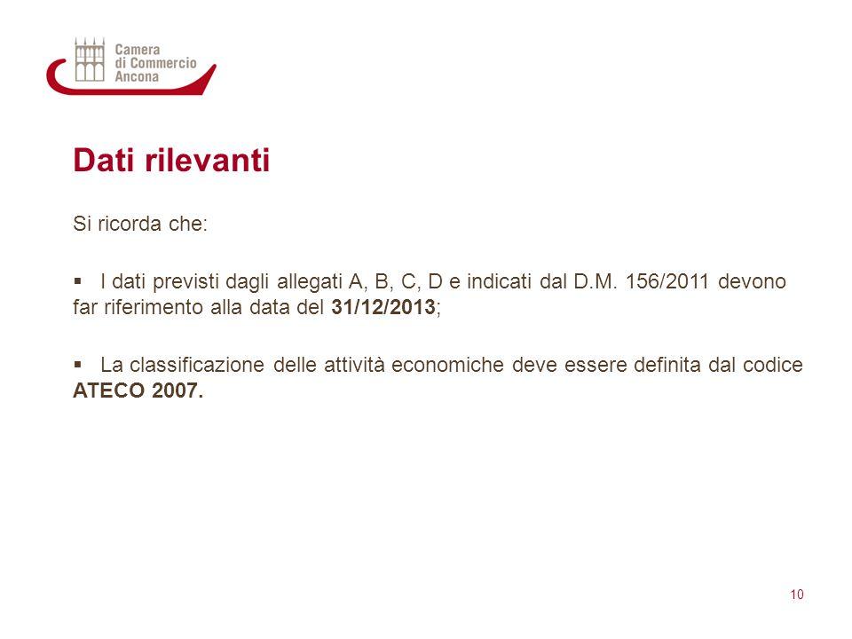 Dati rilevanti Si ricorda che:  I dati previsti dagli allegati A, B, C, D e indicati dal D.M. 156/2011 devono far riferimento alla data del 31/12/201