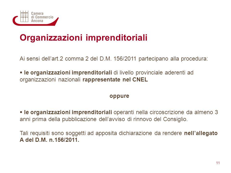 Organizzazioni imprenditoriali Ai sensi dell'art.2 comma 2 del D.M. 156/2011 partecipano alla procedura:  le organizzazioni imprenditoriali di livell