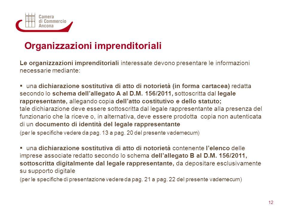 Organizzazioni imprenditoriali Le organizzazioni imprenditoriali interessate devono presentare le informazioni necessarie mediante:  una dichiarazion