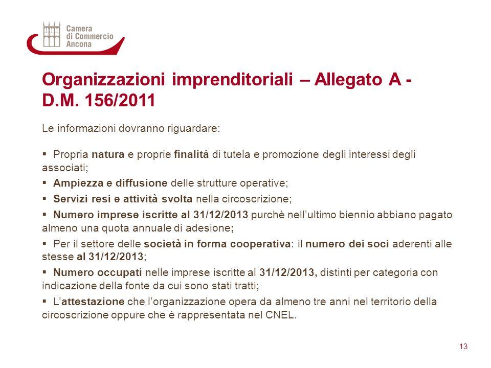 Organizzazioni imprenditoriali – Allegato A - D.M. 156/2011 Le informazioni dovranno riguardare:  Propria natura e proprie finalità di tutela e promo