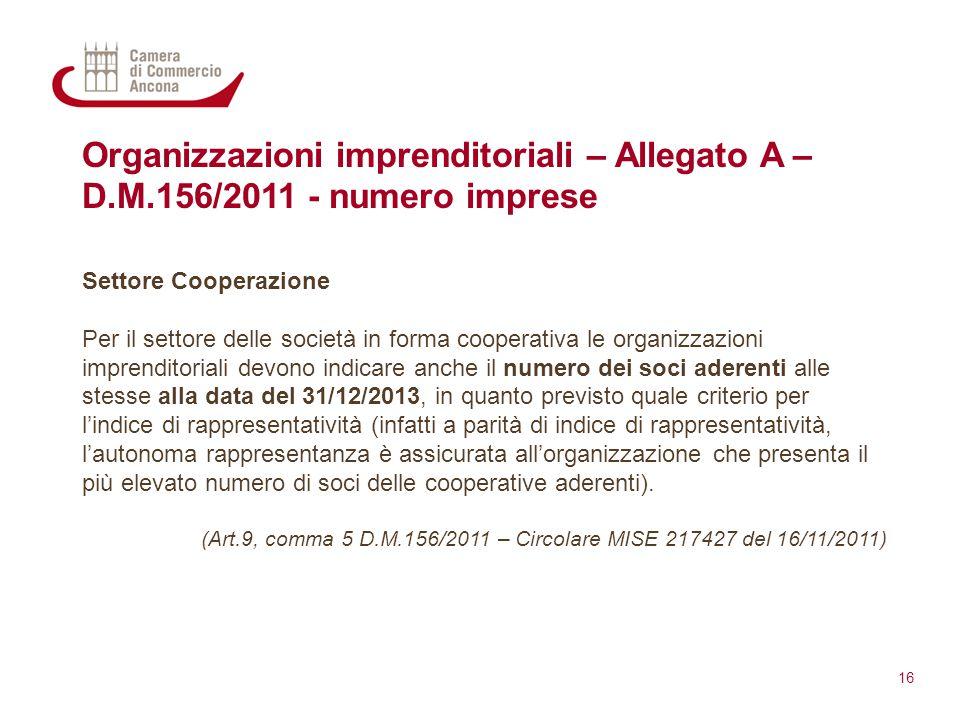 Organizzazioni imprenditoriali – Allegato A – D.M.156/2011 - numero imprese Settore Cooperazione Per il settore delle società in forma cooperativa le