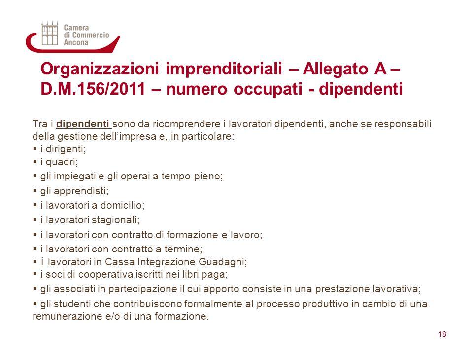 Organizzazioni imprenditoriali – Allegato A – D.M.156/2011 – numero occupati - dipendenti Tra i dipendenti sono da ricomprendere i lavoratori dipenden