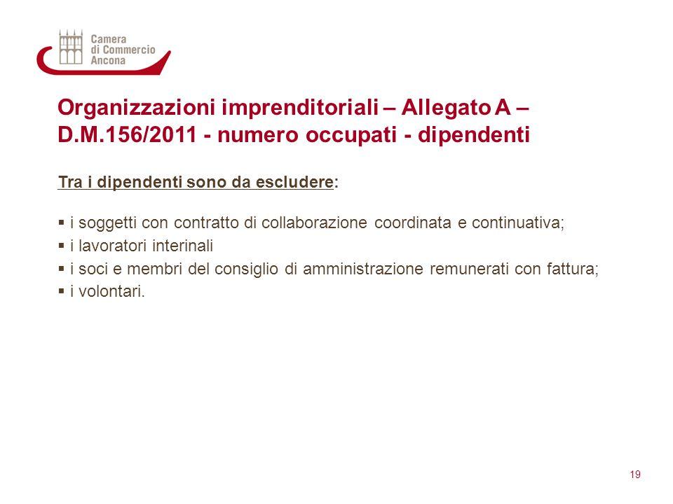 Organizzazioni imprenditoriali – Allegato A – D.M.156/2011 - numero occupati - dipendenti Tra i dipendenti sono da escludere:  i soggetti con contrat