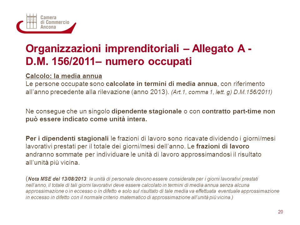 Organizzazioni imprenditoriali – Allegato A - D.M. 156/2011– numero occupati Calcolo: la media annua Le persone occupate sono calcolate in termini di