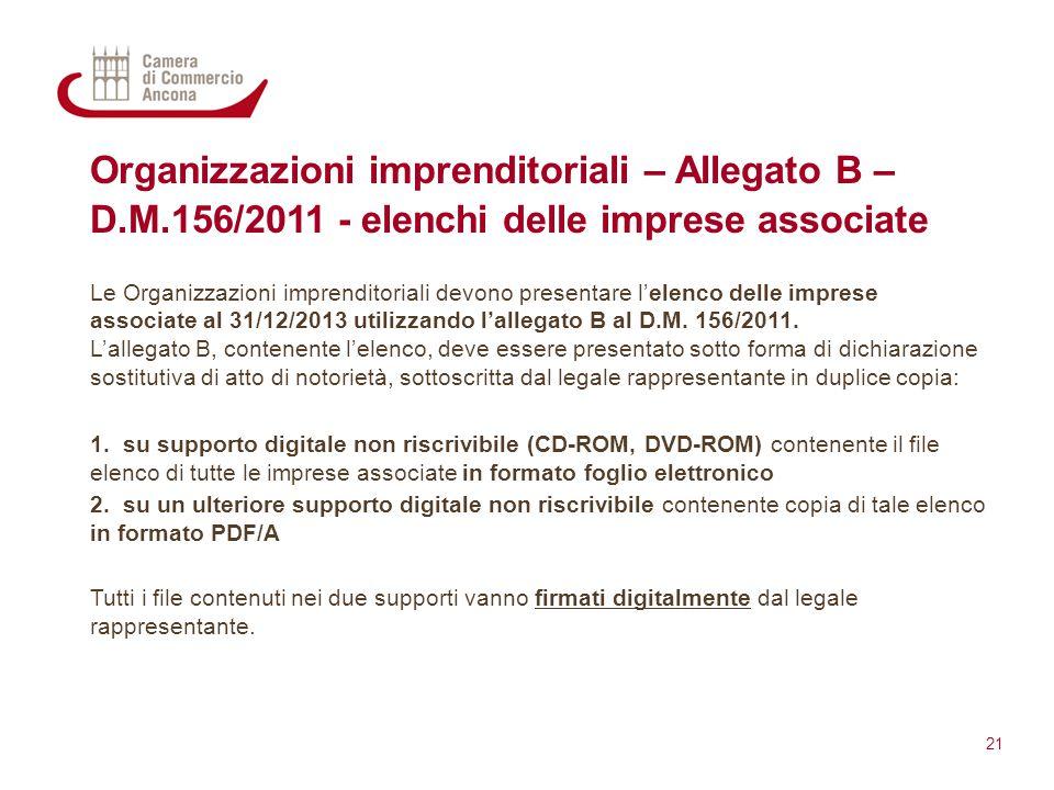 Organizzazioni imprenditoriali – Allegato B – D.M.156/2011 - elenchi delle imprese associate Le Organizzazioni imprenditoriali devono presentare l'ele