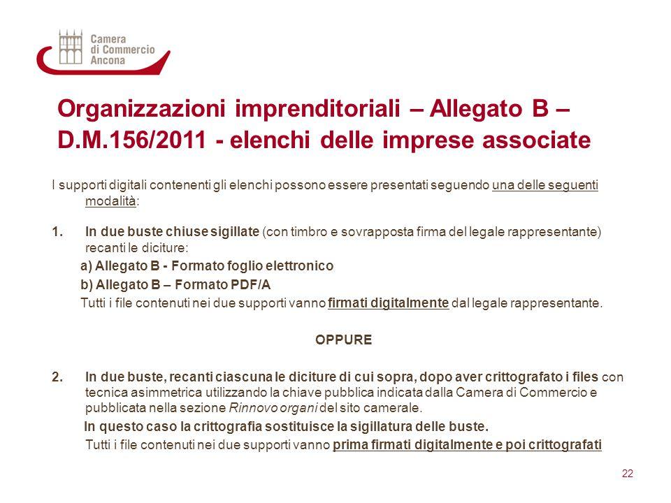 Organizzazioni imprenditoriali – Allegato B – D.M.156/2011 - elenchi delle imprese associate I supporti digitali contenenti gli elenchi possono essere