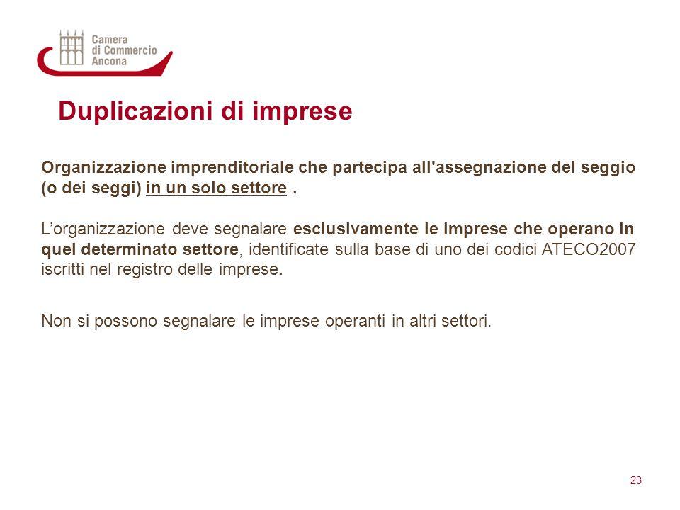 Duplicazioni di imprese Organizzazione imprenditoriale che partecipa all'assegnazione del seggio (o dei seggi) in un solo settore. L'organizzazione de