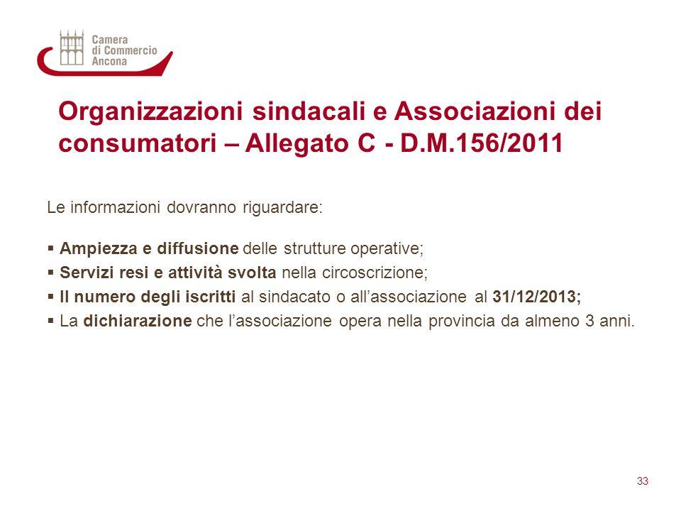 Organizzazioni sindacali e Associazioni dei consumatori – Allegato C - D.M.156/2011 Le informazioni dovranno riguardare:  Ampiezza e diffusione delle