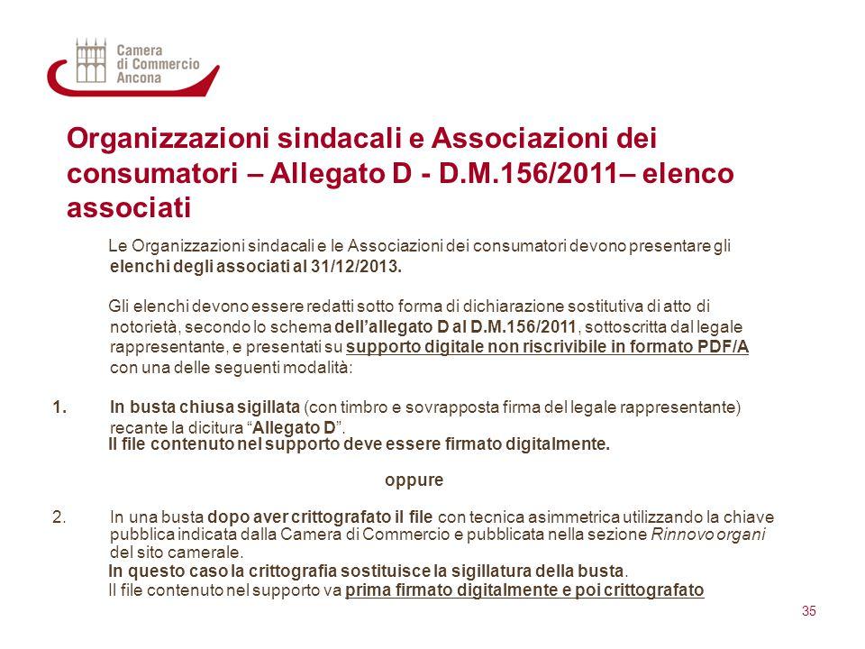 Organizzazioni sindacali e Associazioni dei consumatori – Allegato D - D.M.156/2011– elenco associati Le Organizzazioni sindacali e le Associazioni de