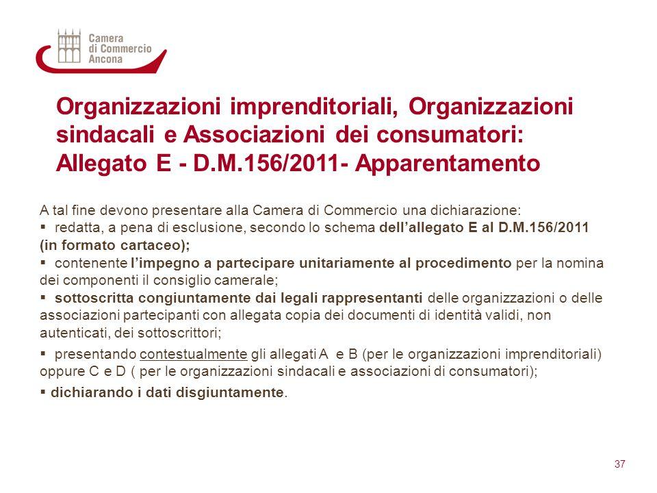Organizzazioni imprenditoriali, Organizzazioni sindacali e Associazioni dei consumatori: Allegato E - D.M.156/2011- Apparentamento A tal fine devono p