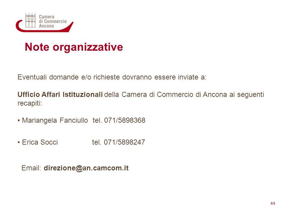 Note organizzative Eventuali domande e/o richieste dovranno essere inviate a: Ufficio Affari Istituzionali della Camera di Commercio di Ancona ai segu