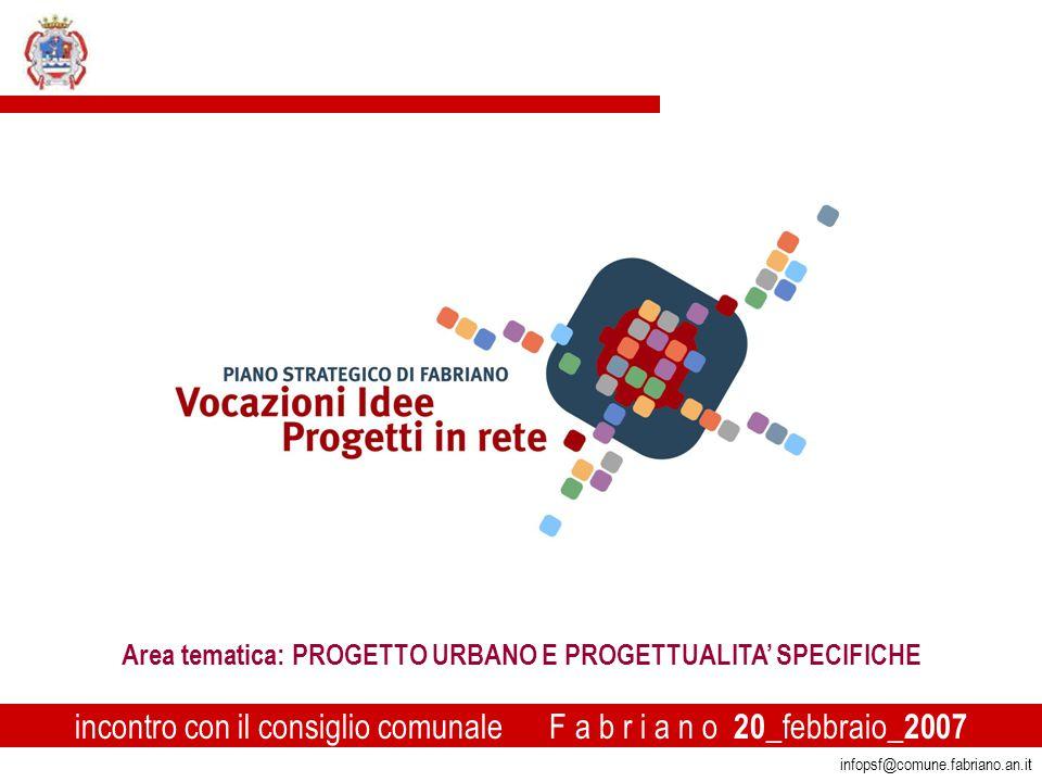 1 infopsf@comune.fabriano.an.it incontro con il consiglio comunale F a b r i a n o 20 _febbraio_ 2007 Area tematica: PROGETTO URBANO E PROGETTUALITA' SPECIFICHE
