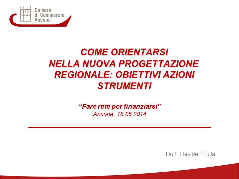 1 COME ORIENTARSI NELLA NUOVA PROGETTAZIONE REGIONALE: OBIETTIVI AZIONI STRUMENTI NELLA NUOVA PROGETTAZIONE REGIONALE: OBIETTIVI AZIONI STRUMENTI Fare rete per finanziarsi Ancona, 18.06.2014 Dott.