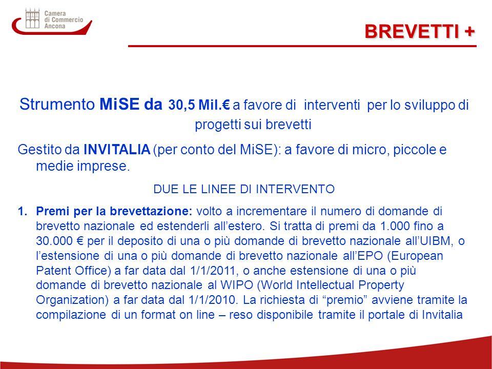 16 BREVETTI + Strumento MiSE da 30,5 Mil.€ a favore di interventi per lo sviluppo di progetti sui brevetti Gestito da INVITALIA (per conto del MiSE): a favore di micro, piccole e medie imprese.