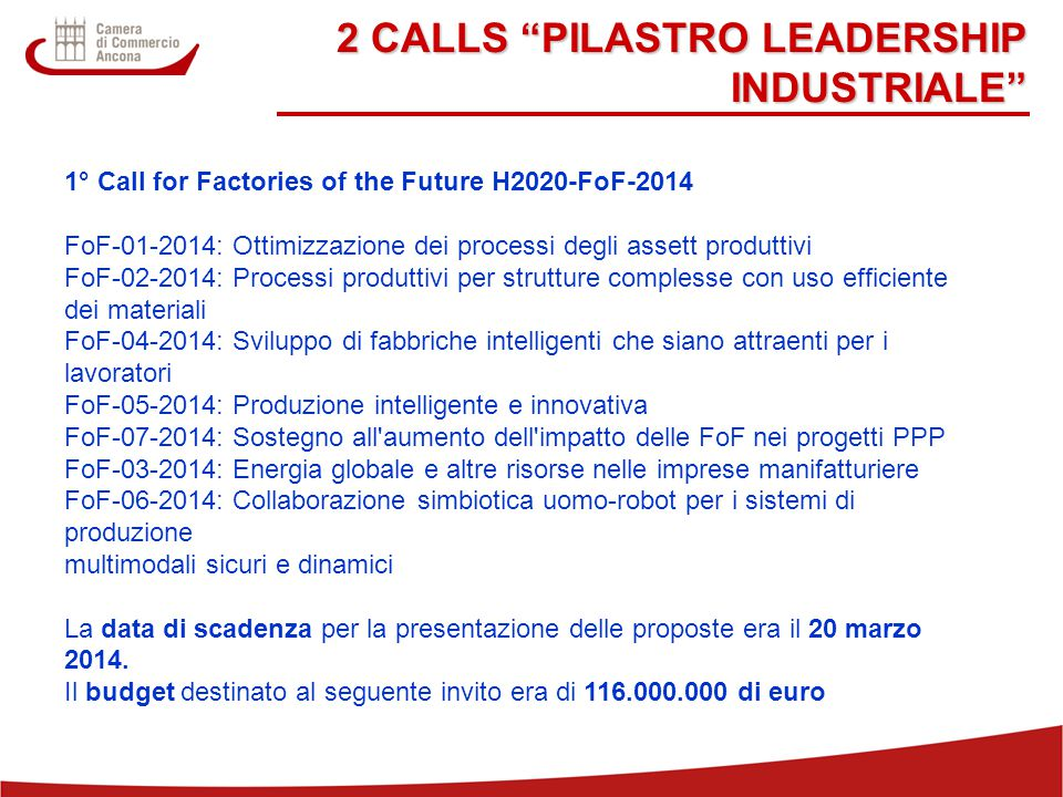 "22 2 CALLS ""PILASTRO LEADERSHIP INDUSTRIALE"" 1° Call for Factories of the Future H2020-FoF-2014 FoF-01-2014: Ottimizzazione dei processi degli assett"