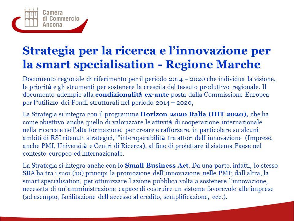 9 Strategia per la ricerca e l ' innovazione per la smart specialisation - Regione Marche Documento regionale di riferimento per il periodo 2014 – 2020 che individua la visione, le priorit à e gli strumenti per sostenere la crescita del tessuto produttivo regionale.