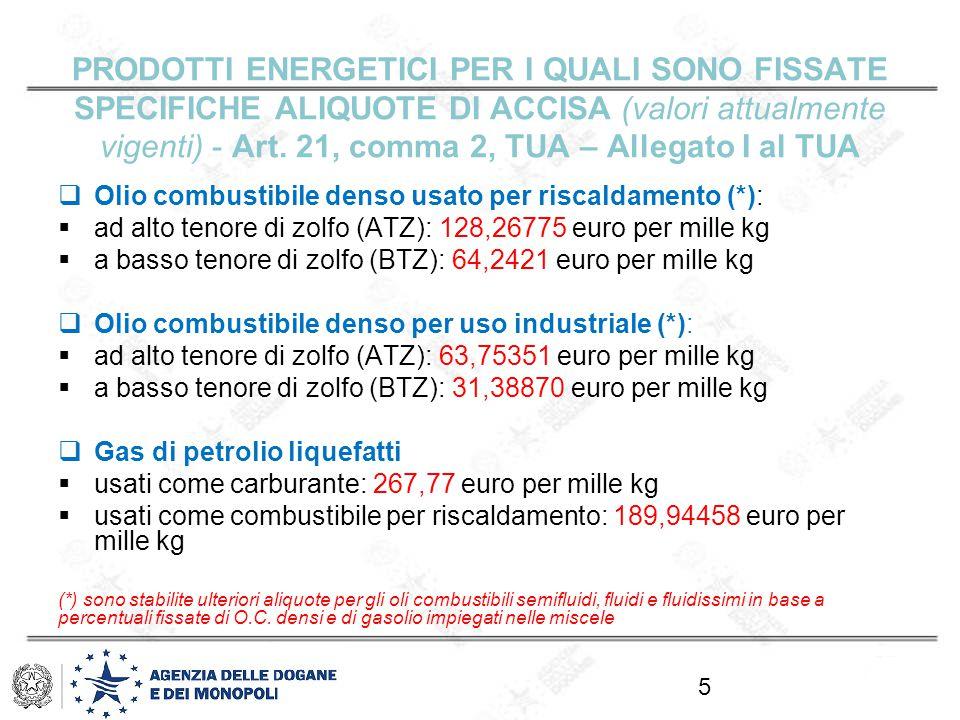 PRODOTTI ENERGETICI PER I QUALI SONO FISSATE SPECIFICHE ALIQUOTE DI ACCISA (valori attualmente vigenti) - Art.