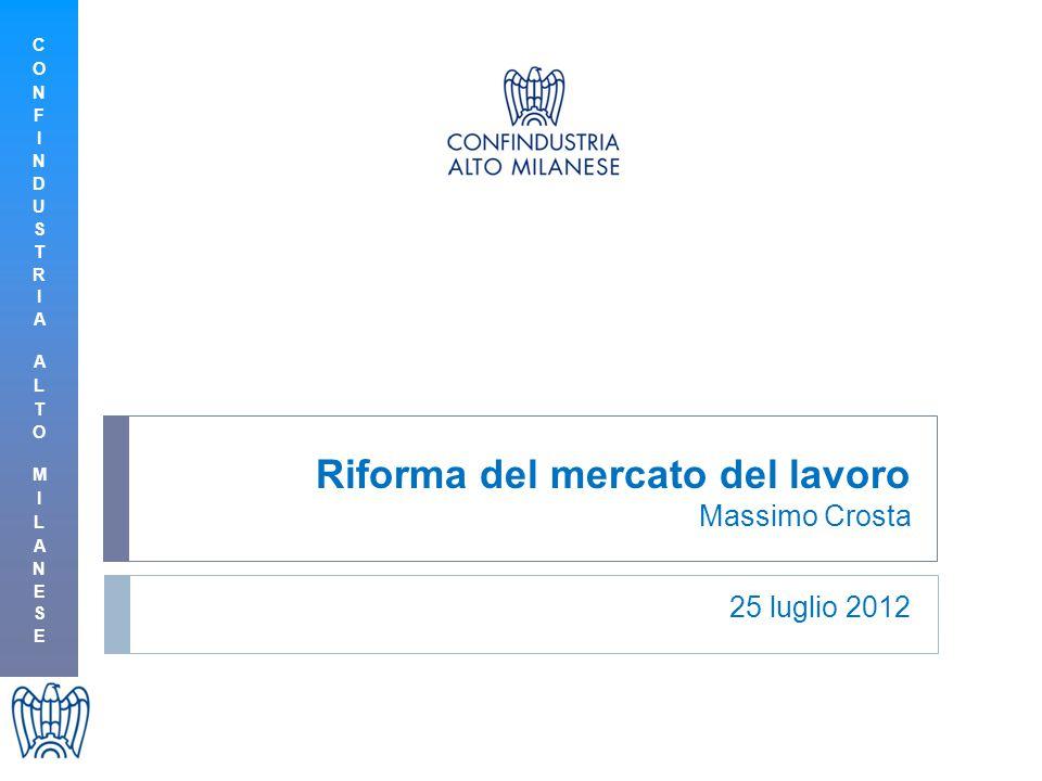 Riforma del mercato del lavoro Massimo Crosta 25 luglio 2012