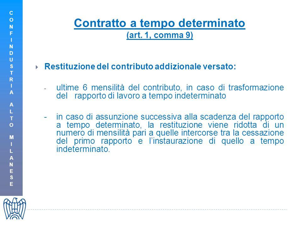 Contratto a tempo determinato (art. 1, comma 9)  Restituzione del contributo addizionale versato: - ultime 6 mensilità del contributo, in caso di tra