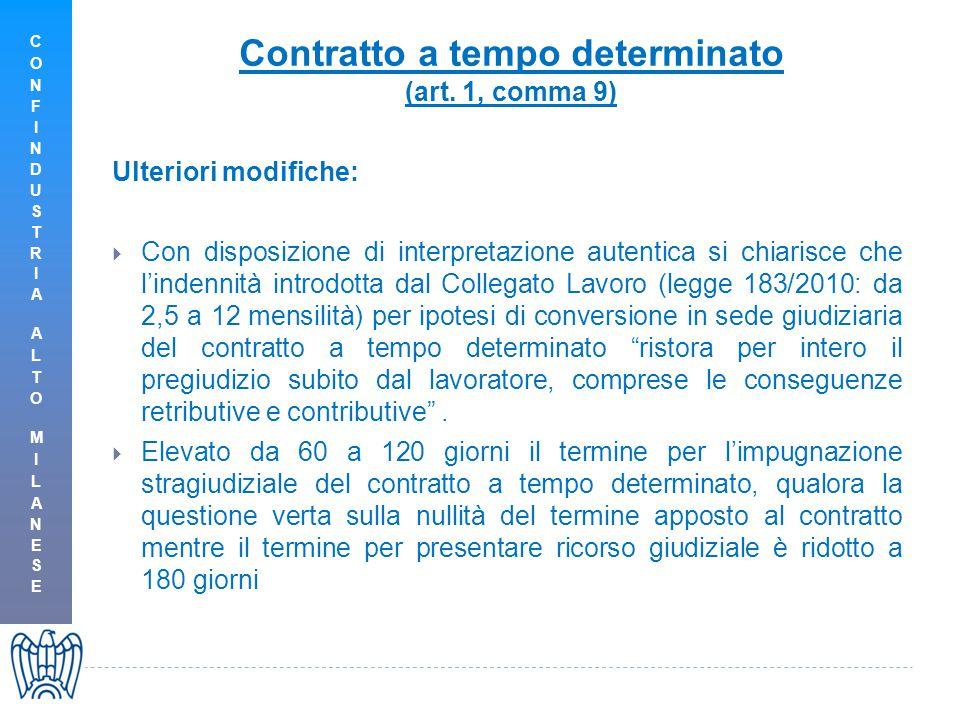 Contratto a tempo determinato (art. 1, comma 9) Ulteriori modifiche:  Con disposizione di interpretazione autentica si chiarisce che l'indennità intr
