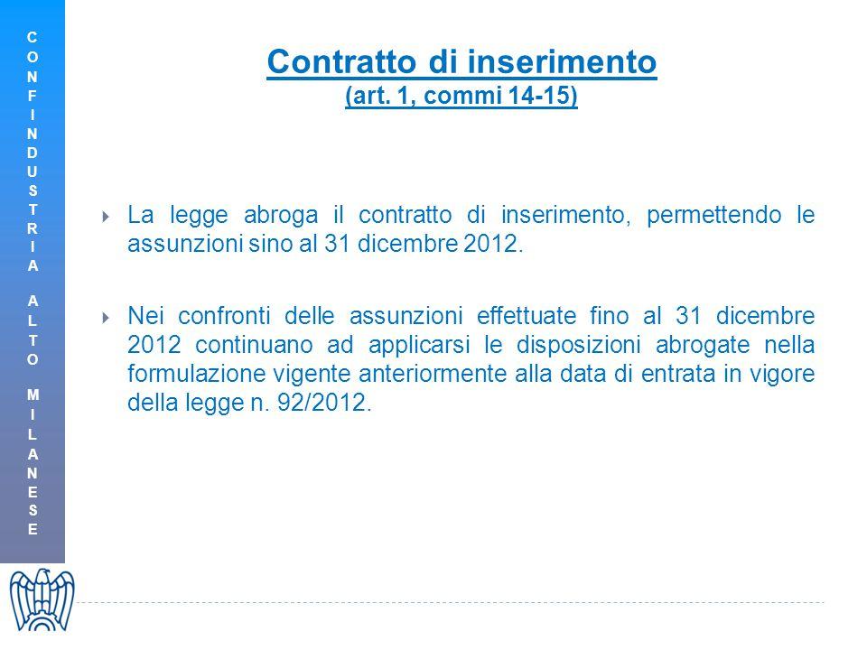 Contratto di inserimento (art. 1, commi 14-15)  La legge abroga il contratto di inserimento, permettendo le assunzioni sino al 31 dicembre 2012.  Ne