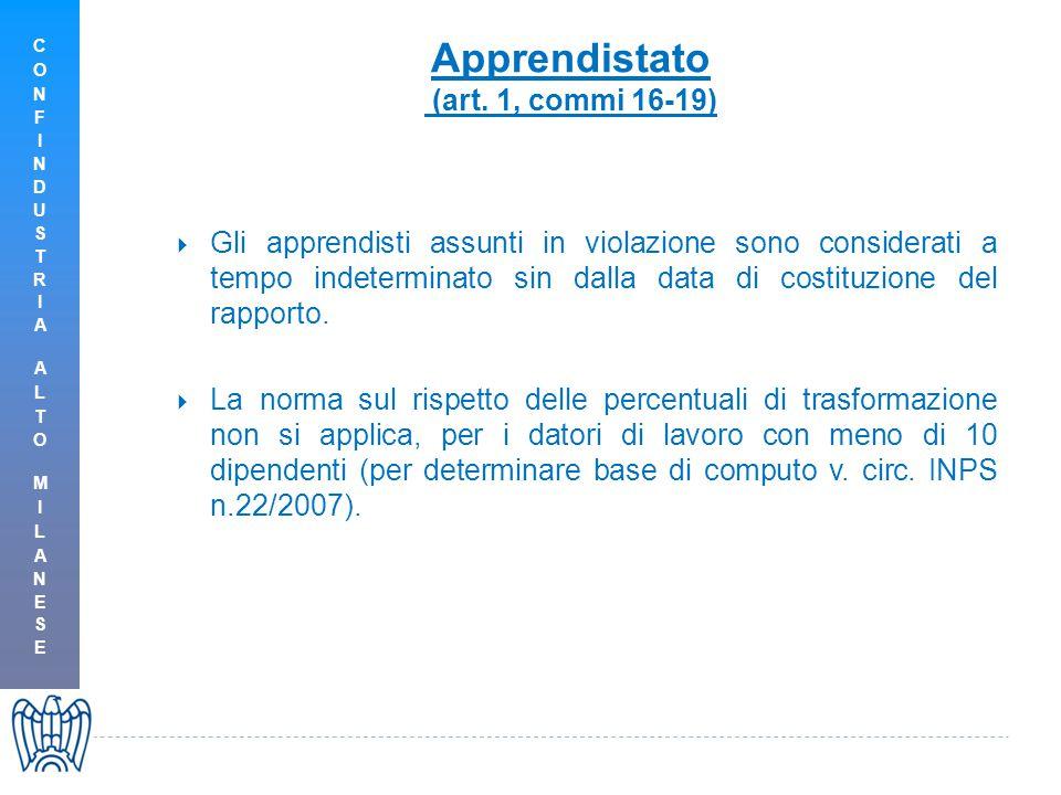 Apprendistato (art. 1, commi 16-19)  Gli apprendisti assunti in violazione sono considerati a tempo indeterminato sin dalla data di costituzione del