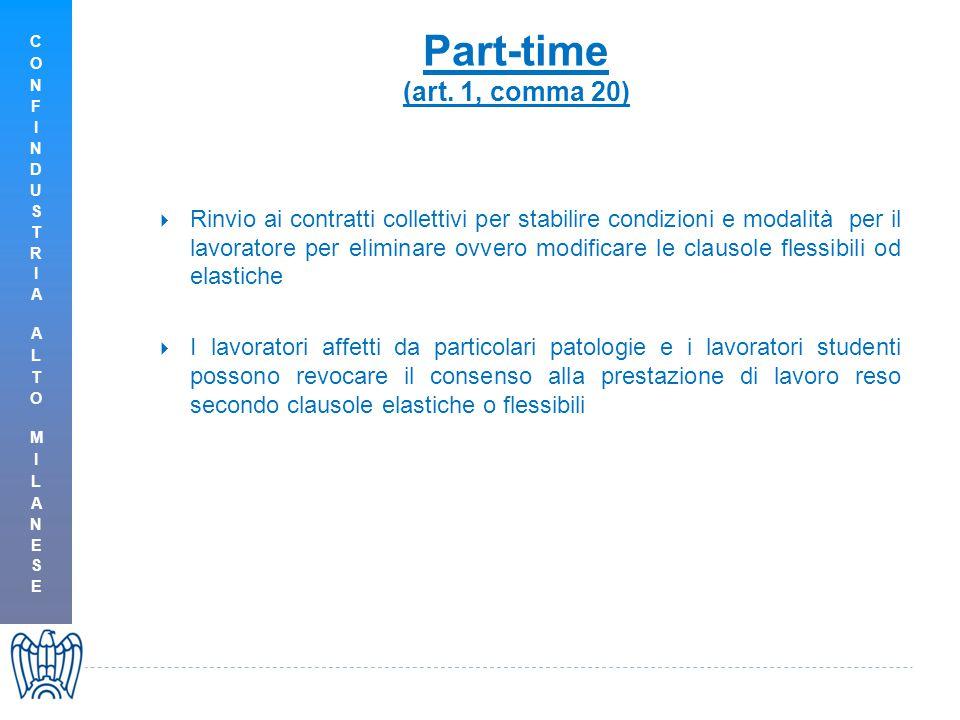 Part-time (art. 1, comma 20)  Rinvio ai contratti collettivi per stabilire condizioni e modalità per il lavoratore per eliminare ovvero modificare le