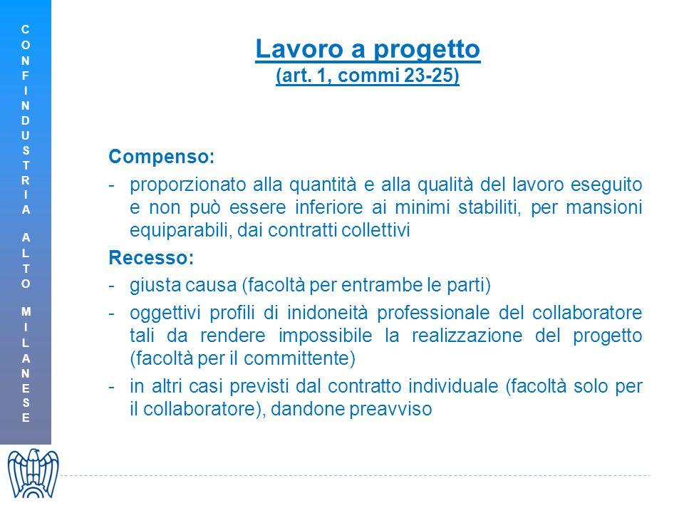 Lavoro a progetto (art. 1, commi 23-25) Compenso: -proporzionato alla quantità e alla qualità del lavoro eseguito e non può essere inferiore ai minimi