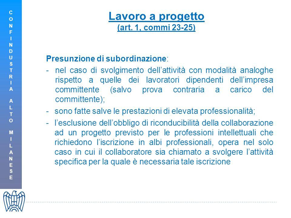 Lavoro a progetto (art. 1, commi 23-25) Presunzione di subordinazione: -nel caso di svolgimento dell'attività con modalità analoghe rispetto a quelle