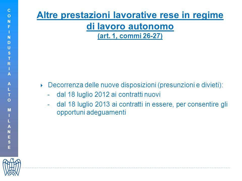 Altre prestazioni lavorative rese in regime di lavoro autonomo (art. 1, commi 26-27)  Decorrenza delle nuove disposizioni (presunzioni e divieti): -d