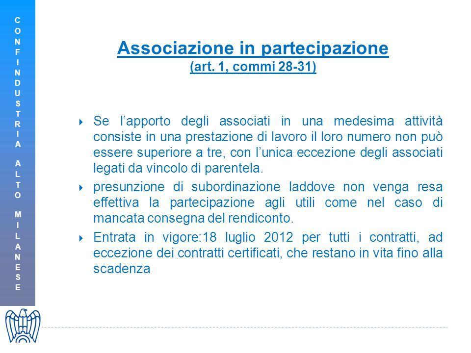 Associazione in partecipazione (art. 1, commi 28-31)  Se l'apporto degli associati in una medesima attività consiste in una prestazione di lavoro il