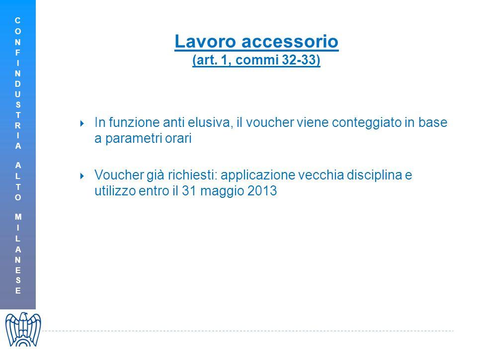 Lavoro accessorio (art. 1, commi 32-33)  In funzione anti elusiva, il voucher viene conteggiato in base a parametri orari  Voucher già richiesti: ap