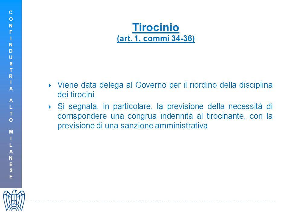 Tirocinio (art. 1, commi 34-36)  Viene data delega al Governo per il riordino della disciplina dei tirocini.  Si segnala, in particolare, la previsi