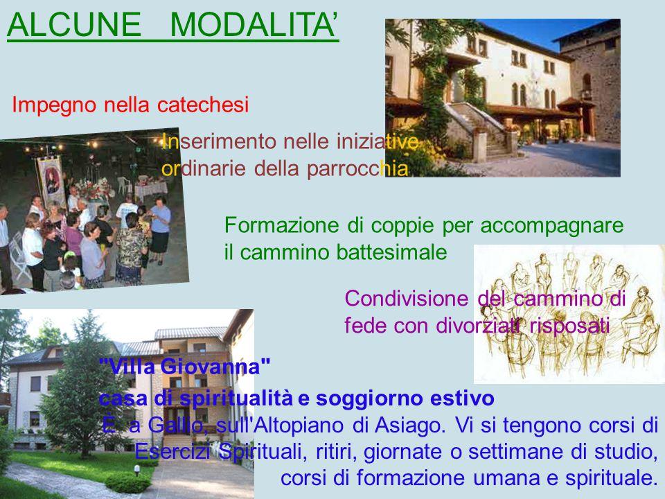 ALCUNE MODALITA' Inserimento nelle iniziative ordinarie della parrocchia Impegno nella catechesi Formazione di coppie per accompagnare il cammino batt