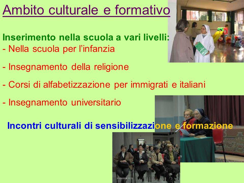 Ambito culturale e formativo Inserimento nella scuola a vari livelli: - Nella scuola per l'infanzia - Insegnamento della religione - Corsi di alfabeti