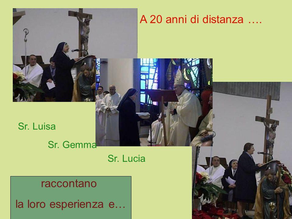 A 20 anni di distanza …. Sr. Luisa Sr. Gemma Sr. Lucia raccontano la loro esperienza e…