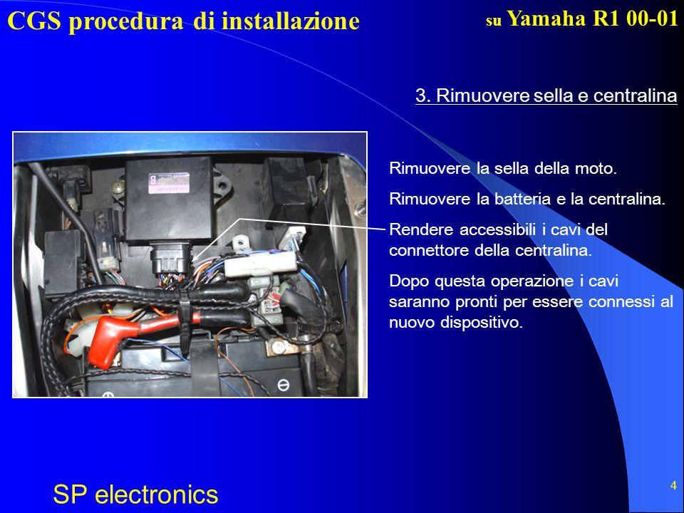 CGS procedura di installazione SP electronics su Yamaha R1 00-01 4 3. Rimuovere sella e centralina Rimuovere la sella della moto. Rimuovere la batteri