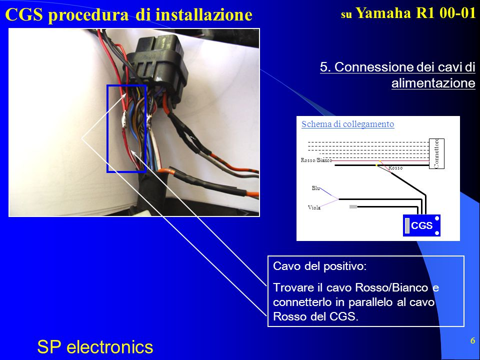 CGS procedura di installazione SP electronics su Yamaha R1 00-01 6 5. Connessione dei cavi di alimentazione Cavo del positivo: Trovare il cavo Rosso/B