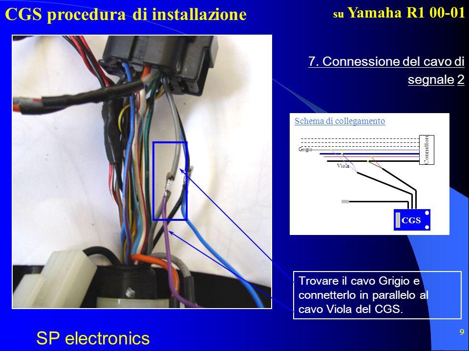 CGS procedura di installazione SP electronics su Yamaha R1 00-01 10 Isolare i fili!