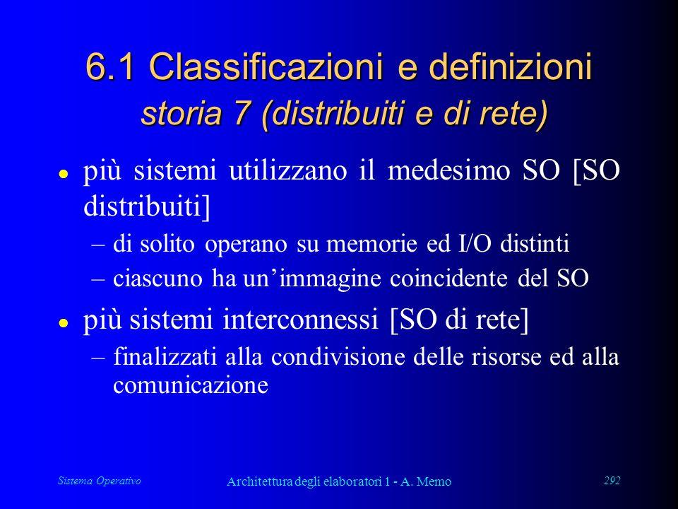 Sistema Operativo Architettura degli elaboratori 1 - A. Memo 292 6.1 Classificazioni e definizioni storia 7 (distribuiti e di rete) l più sistemi util