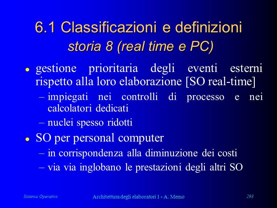 Sistema Operativo Architettura degli elaboratori 1 - A. Memo 293 6.1 Classificazioni e definizioni storia 8 (real time e PC) l gestione prioritaria de