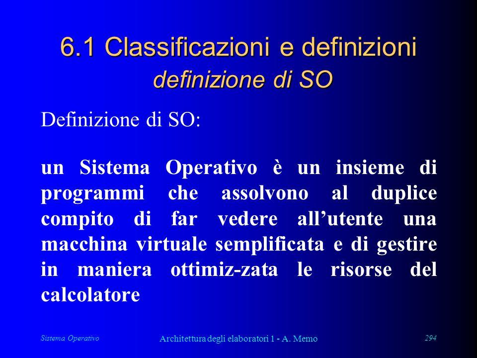 Sistema Operativo Architettura degli elaboratori 1 - A. Memo 294 6.1 Classificazioni e definizioni definizione di SO Definizione di SO: un Sistema Ope