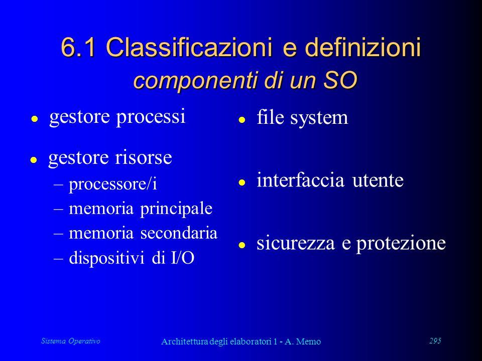 Sistema Operativo Architettura degli elaboratori 1 - A. Memo 295 6.1 Classificazioni e definizioni componenti di un SO l interfaccia utente l gestore