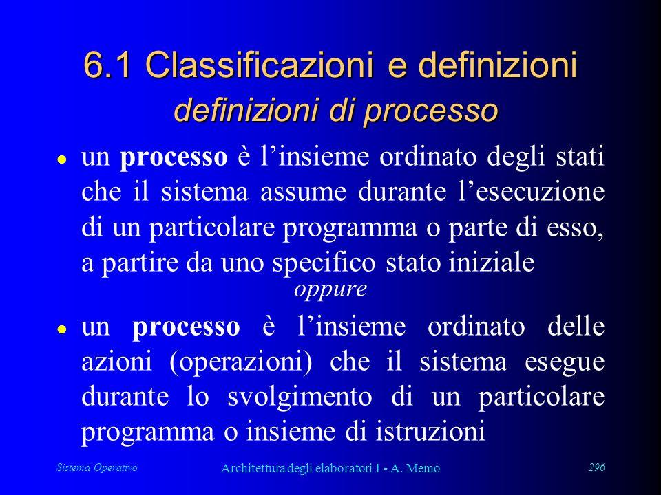 Sistema Operativo Architettura degli elaboratori 1 - A. Memo 296 6.1 Classificazioni e definizioni definizioni di processo l un processo è l'insieme o