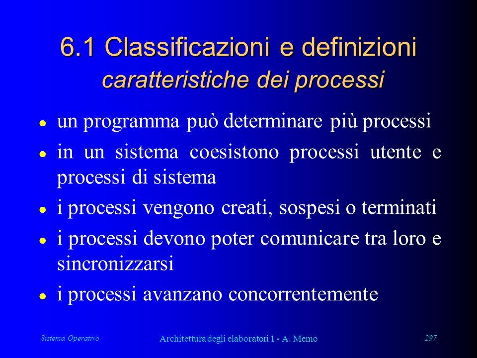Sistema Operativo Architettura degli elaboratori 1 - A. Memo 297 6.1 Classificazioni e definizioni caratteristiche dei processi l un programma può det
