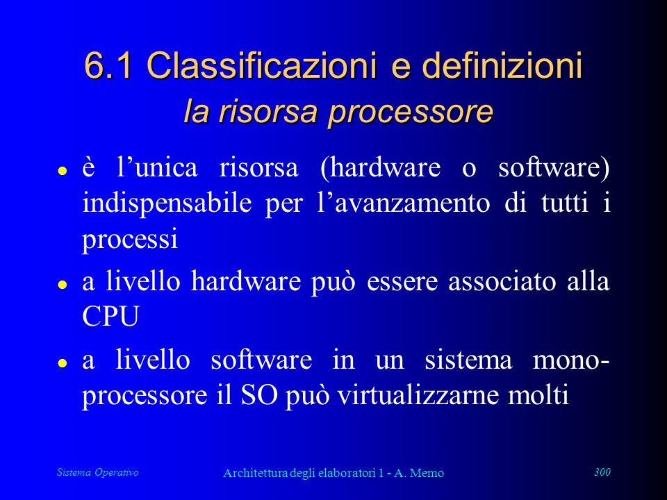 Sistema Operativo Architettura degli elaboratori 1 - A. Memo 300 6.1 Classificazioni e definizioni la risorsa processore l è l'unica risorsa (hardware