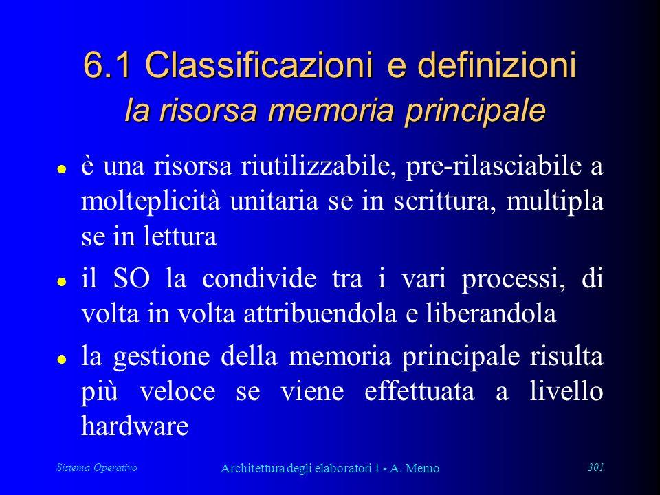 Sistema Operativo Architettura degli elaboratori 1 - A. Memo 301 6.1 Classificazioni e definizioni la risorsa memoria principale l è una risorsa riuti